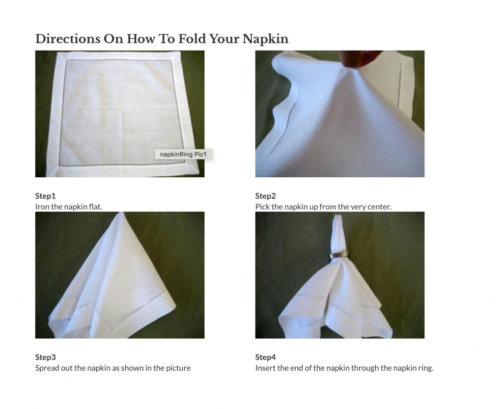 Direction How Fold Napkin